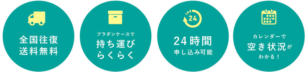 全国往復送料無料 軽量で持ち運び便利なプラダンケースを使用 24時間仮申し込みOK 機器の空き状況が一目でわかるカレンダー!