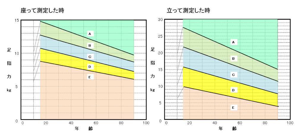 足指力計ふんばるくん測定結果シート(男性)
